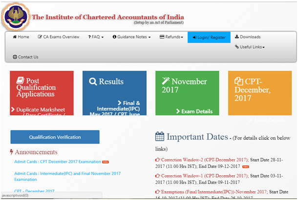 CA Intermediatee admit card correction window