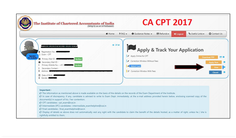 Download CA Intermediate admit card