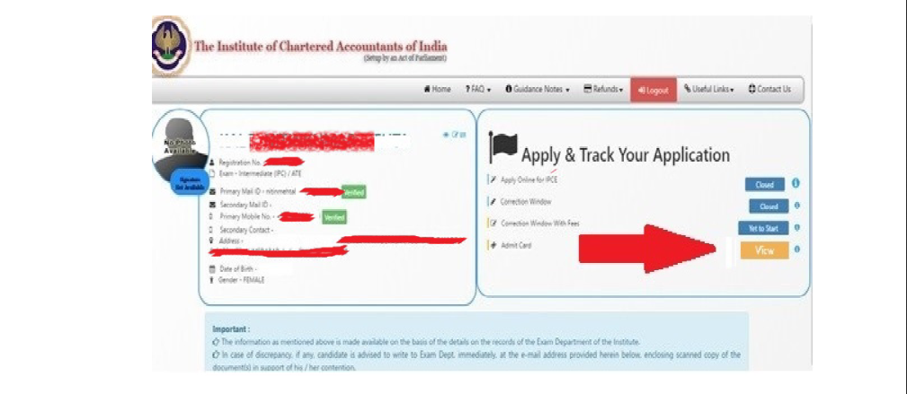 ca final admit card May 2020