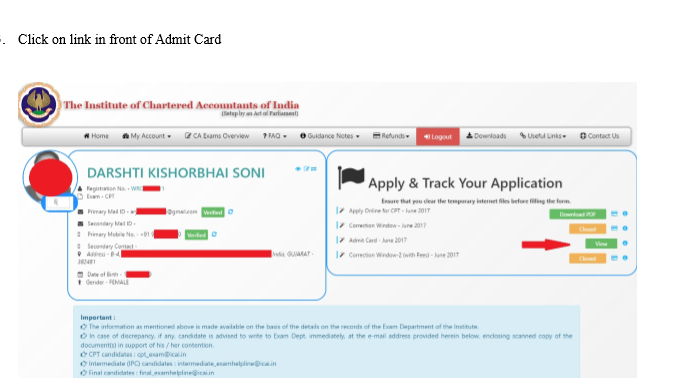 cpt admit card june 2018