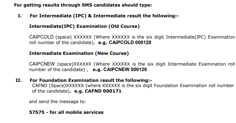 CA Result through SMS