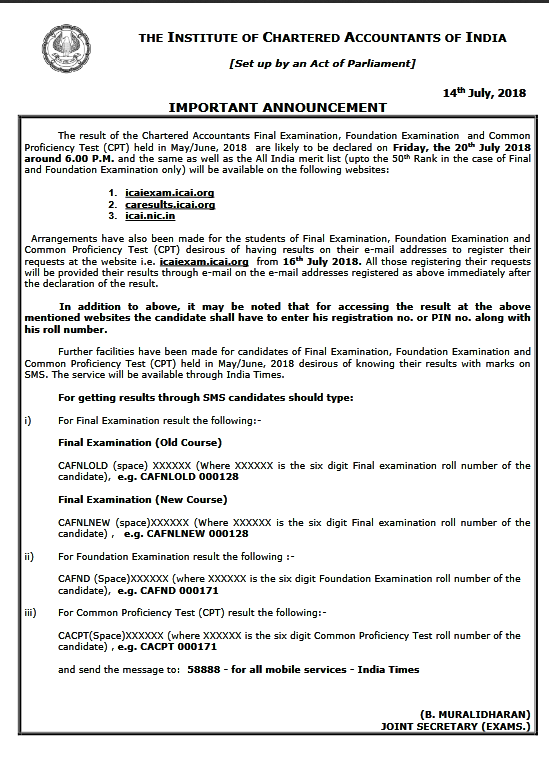 ICAI CA Foundation may 2018 announcement