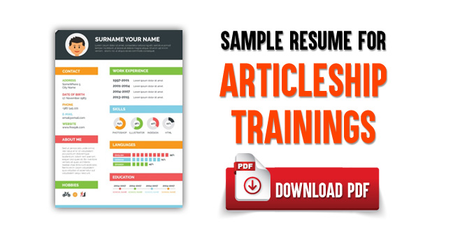 Sample Resume For Articleship Training Download Pdf