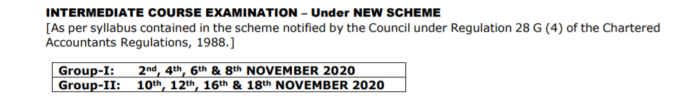 CA Intermediate Nov 2020 Examination dates