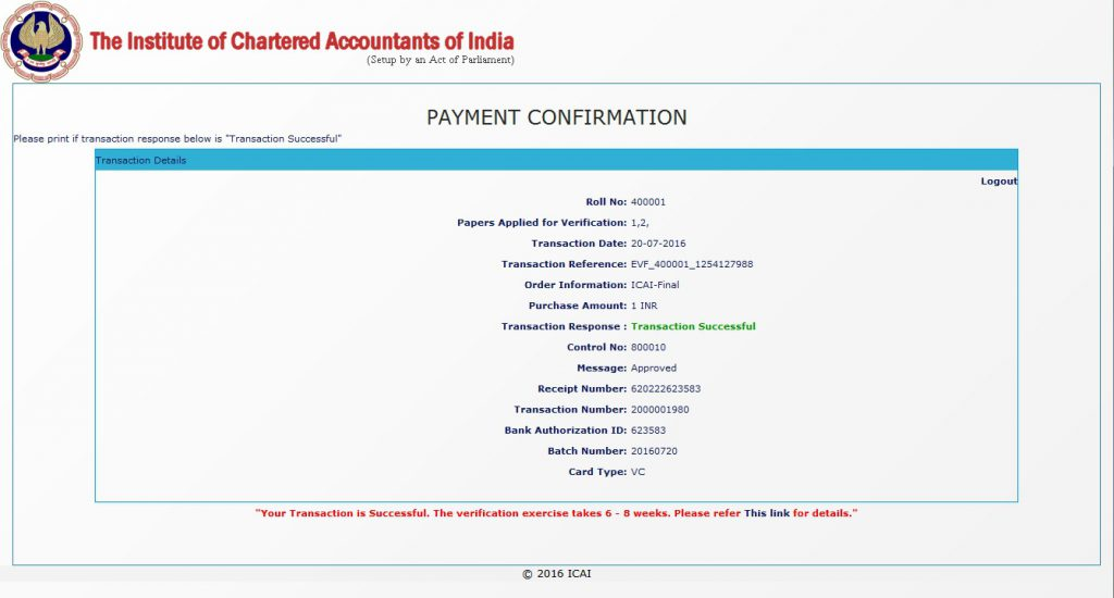 CA Intermediate verification payment