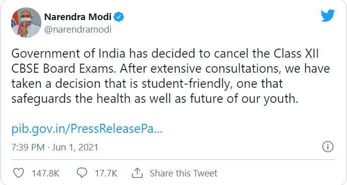 cbse class 12 exams cancelled
