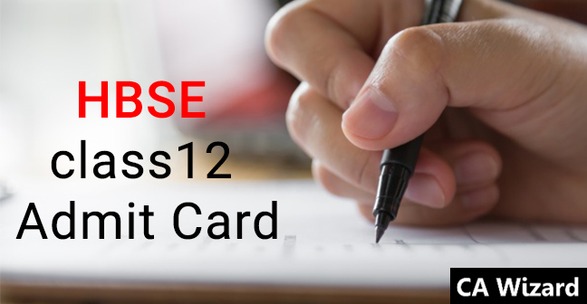HBSE 12th Admit Card