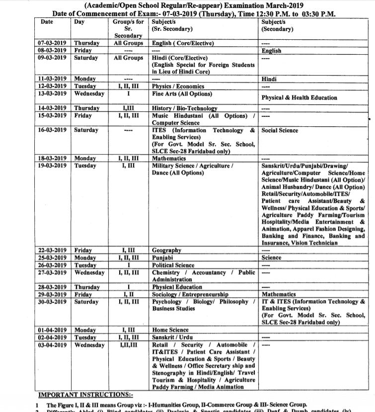 hbse 12th date sheet 2019