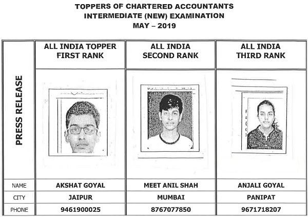 icai CA Intermediate toppers may 2019