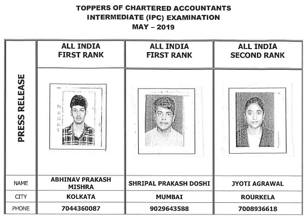 CA IPCC toppers May 2019