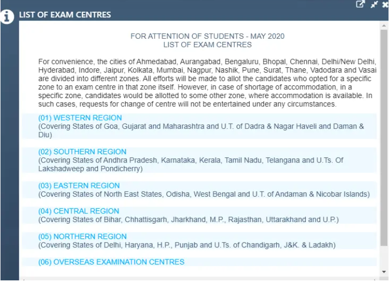 ca foundation list of exam cetres
