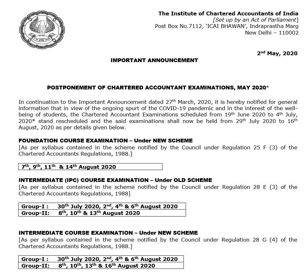 CA Final updated Date Sheet