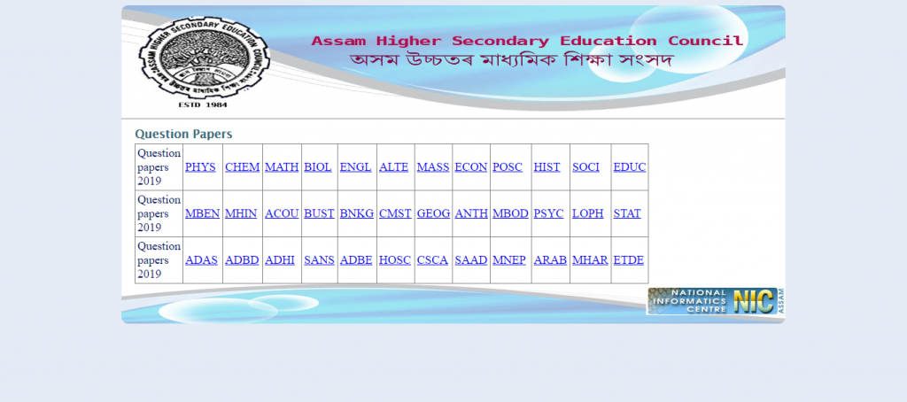 ahsec class 12th previous year question paper