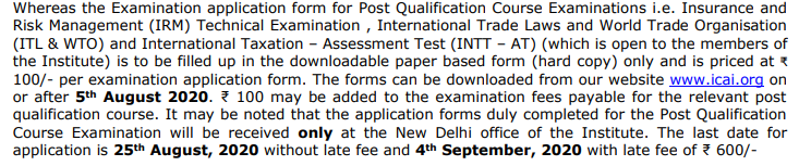 CA Foundation Exam Form Latest Update