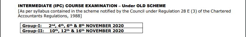 CA IPCC date sheet