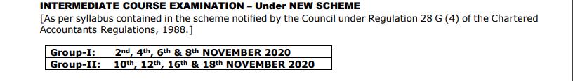 CA Intermediate Examination dates 2020