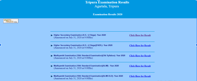 TBSE 12th Result 2020