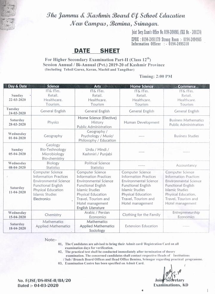 JKBOSE 12th Class Datesheet (Kashmir Division)