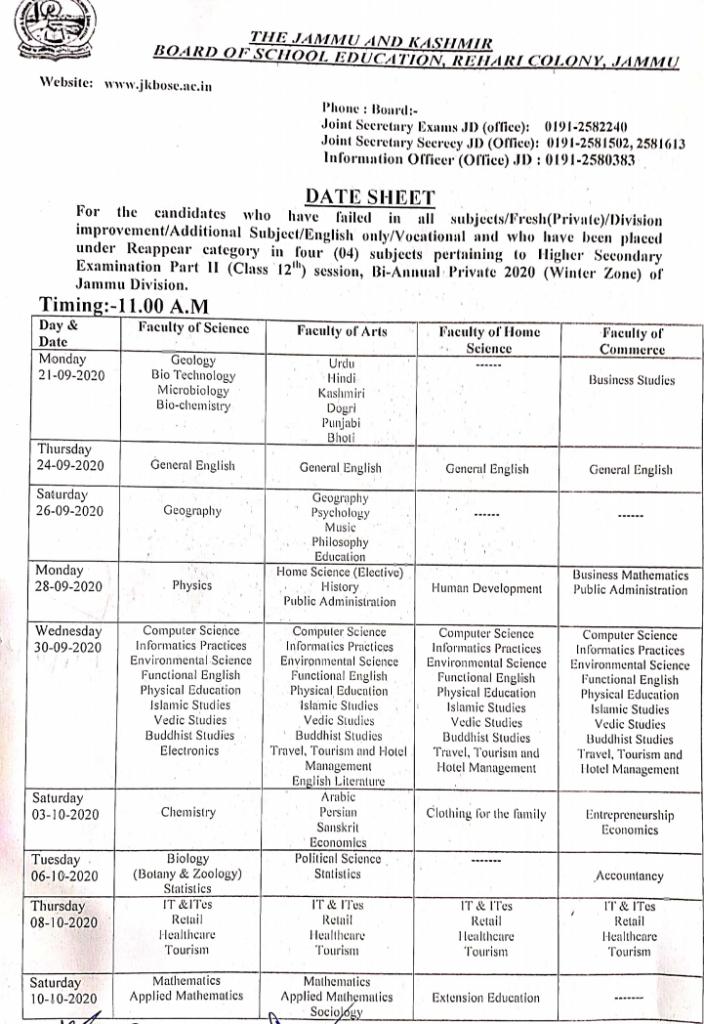 JKBOSE 12th Class Datesheet (Bi-Annual Private Exams 2020- Jammu Division)