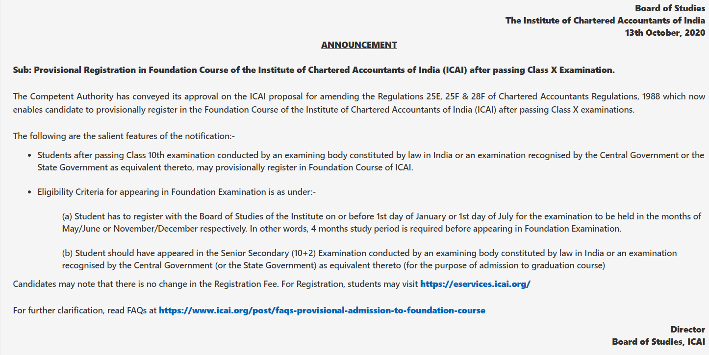 ICAI official announcement for provisional registration for class 10 students